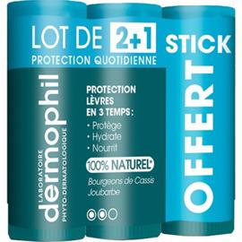 Stick lèvres protection quotidienne lot de 3 x 4g - dermophil indien -219306