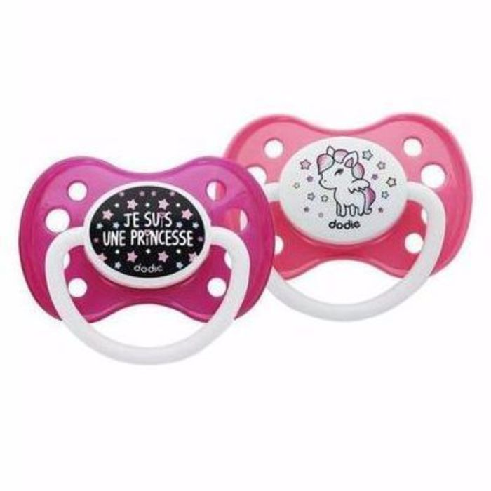 Sucette anatomique silicone +6mois x2 girly Dodie-216172