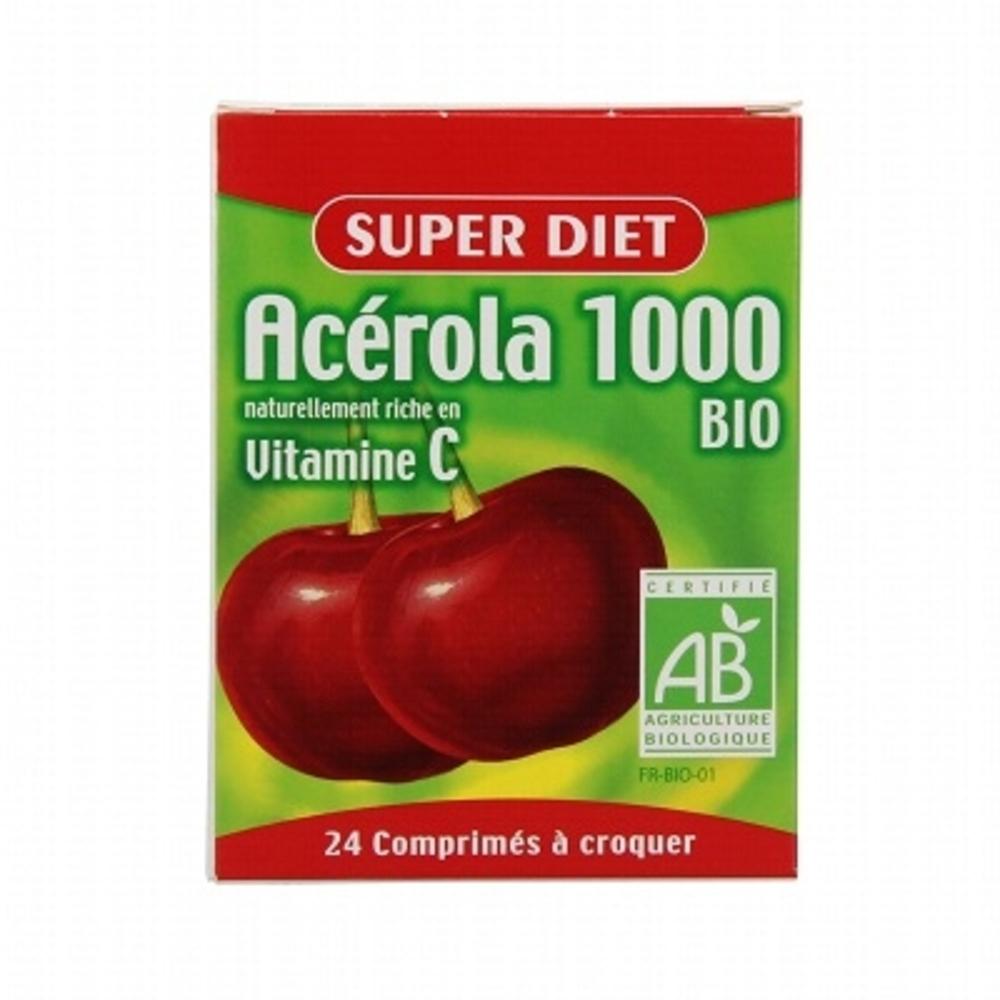 SUPER DIET Acérola 1000 Bio - 24 comprimés - 24.0 unites - Vitamine C - Super Diet Vitamine C d'origine naturelle-4599