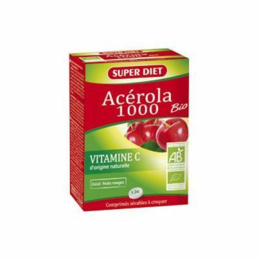 Super diet acérola 1000 bio - 24 comprimés - super diet -215476