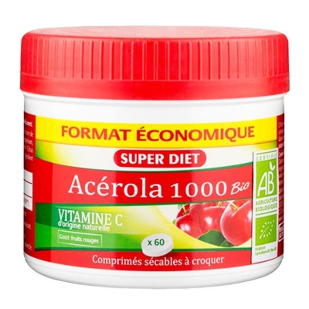 SUPER DIET Acérola 1000 Bio - 60 comprimés - 60.0 unites - Vitamine C - Super Diet -11092