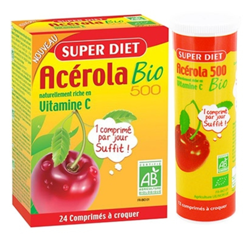 Super diet acerola bio 500 - promo - 24.0 unites - vitamine c - super diet -125716