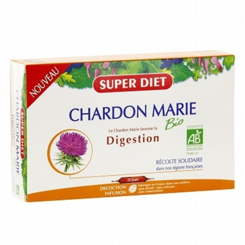 Super diet chardon marie - 20 ampoules - 20.0 unites - digestion - super diet -138999