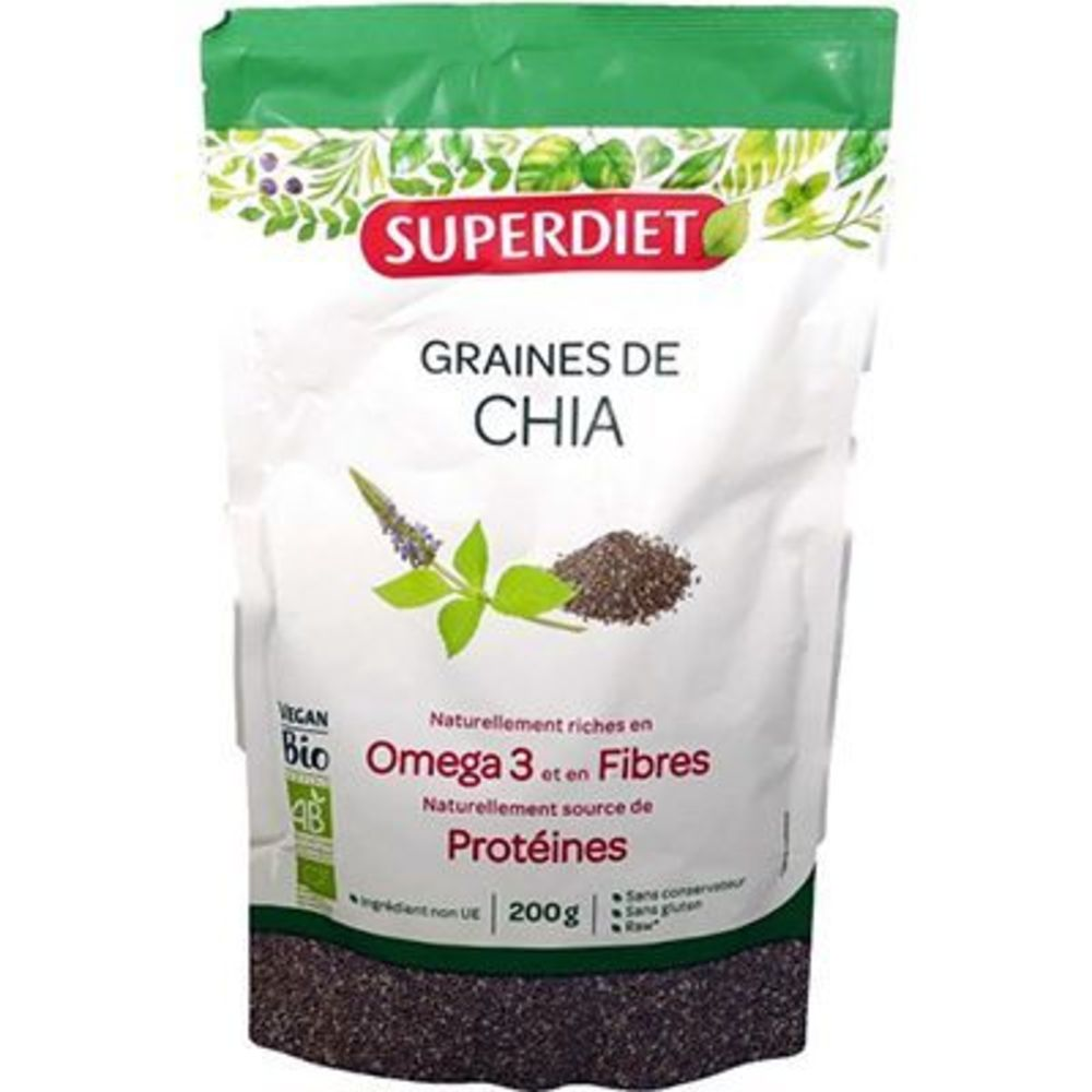 Super diet graines de chia bio vegan 200g - super diet -221692