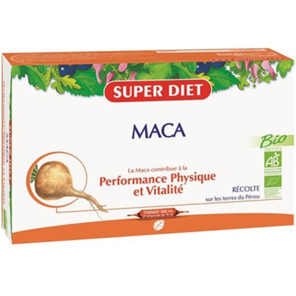Super diet maca bio - 20 ampoules - 20.0 unites - vitalité - intellect - super diet énergie et performances physiques-11076