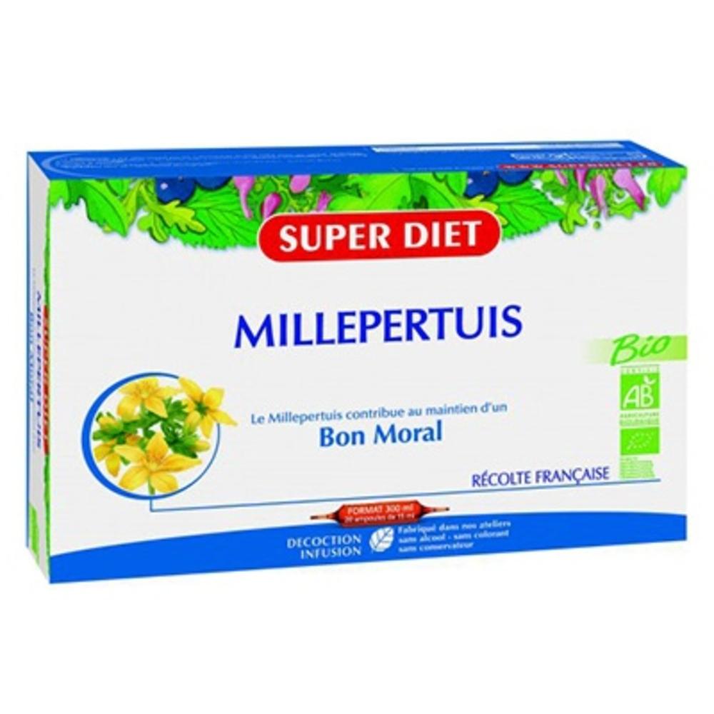 Super diet millepertuis bio - 20 ampoules - 20.0 unites - détente - sommeil - super diet Bon moral-104061