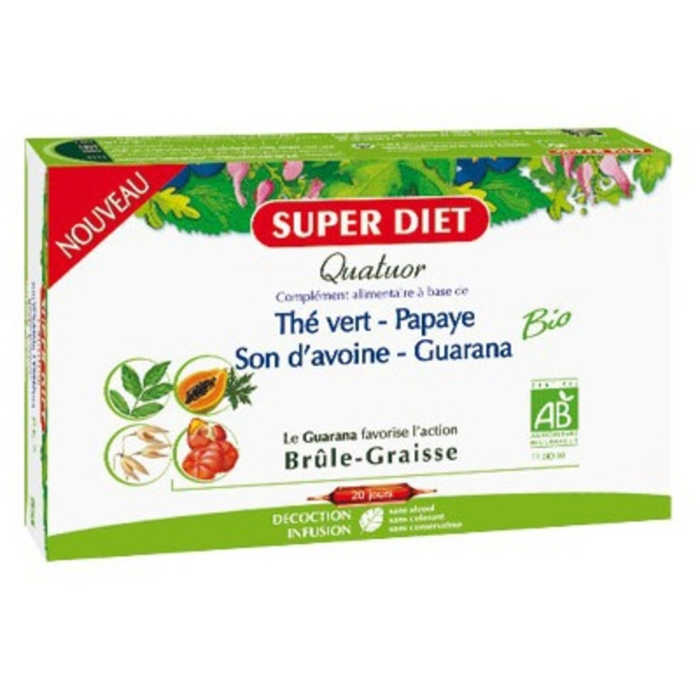 Super diet quatuor brûle-graisse - 20 ampoules - 20.0 unites - les quatuors - super diet -140598