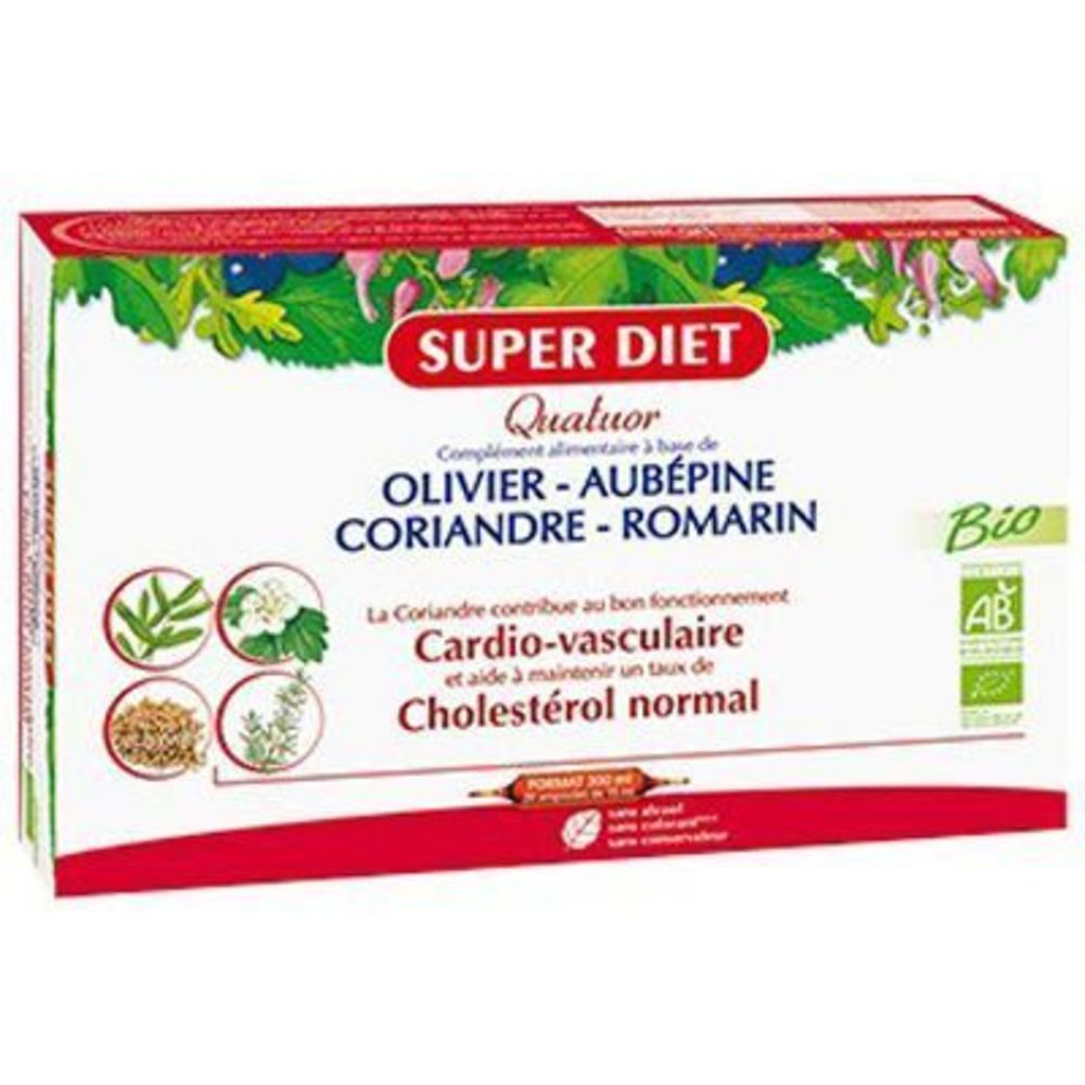 Super diet quatuor cardiovasculaire bio 20 ampoules - super diet -220576