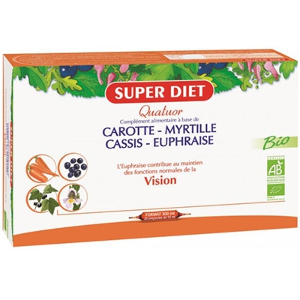 Super diet quatuor vision bio - 20 ampoules - 20.0 unites - les quatuors - super diet -142686