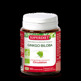 Superdiet ginkgo biloba bio 80 comprimés - 80.0 unites - circulation - super diet Circulation et la microcirculation-4482