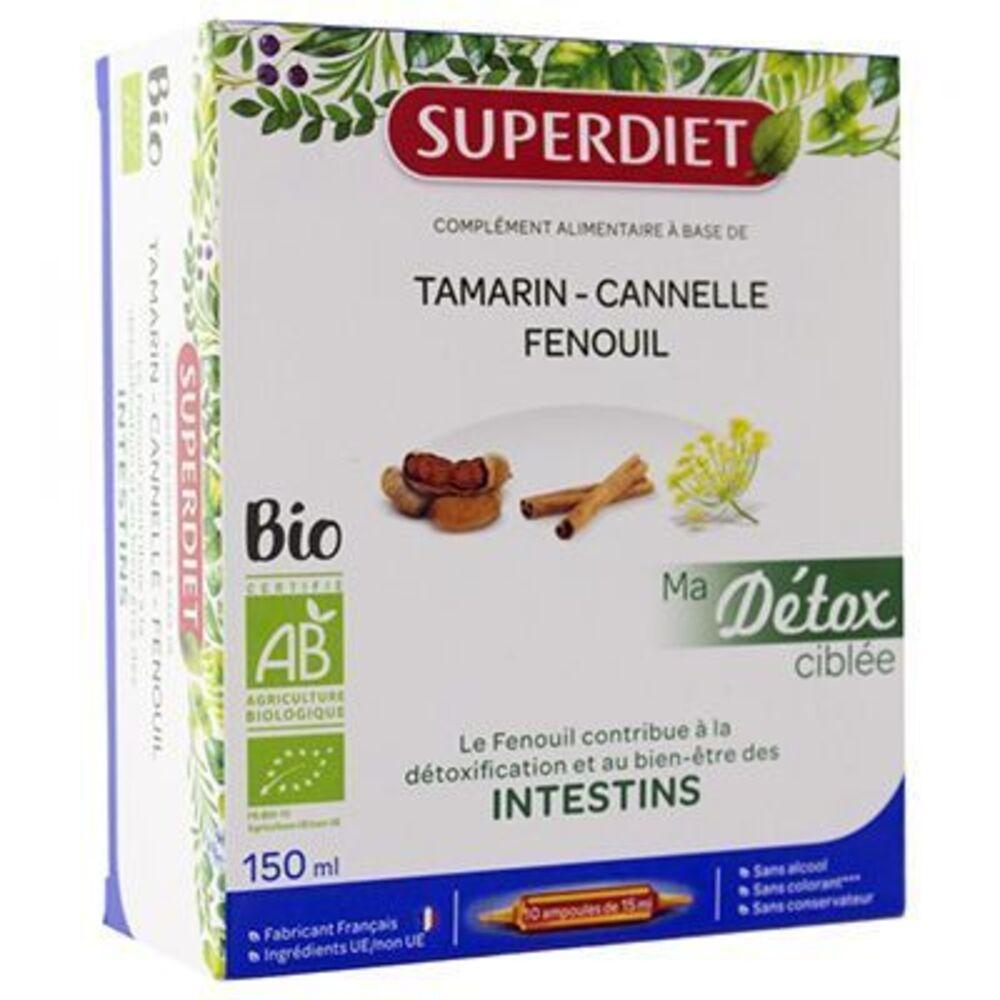 Superdiet ma détox ciblée intestins bio 10 ampoules Super diet-225297