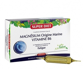 Superdiet magnésium marin + vitamine b6 ampoules - 20.0 unites - vitalité - intellect - super diet Contre la fatigue et le stress-4512