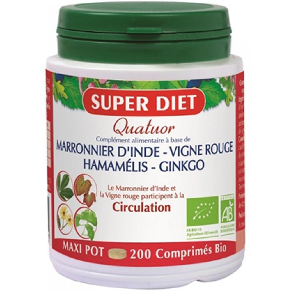 Superdiet quatuor circulation bio - 200 comprimés - 200.0 unites - les quatuors - super diet -110739