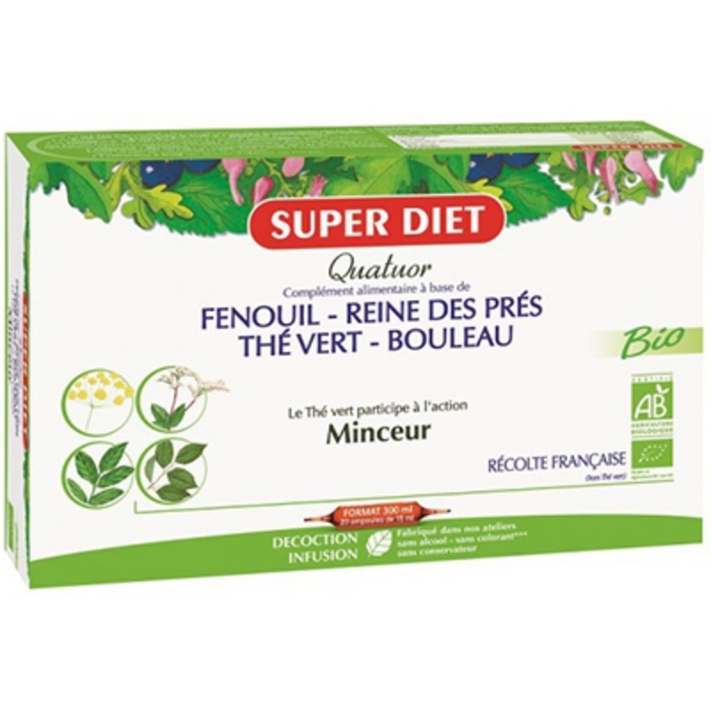 Superdiet quatuor minceur bio - 20.0 unites - les quatuors - super diet Contrôler le poids et favoriser l'élimination-4466