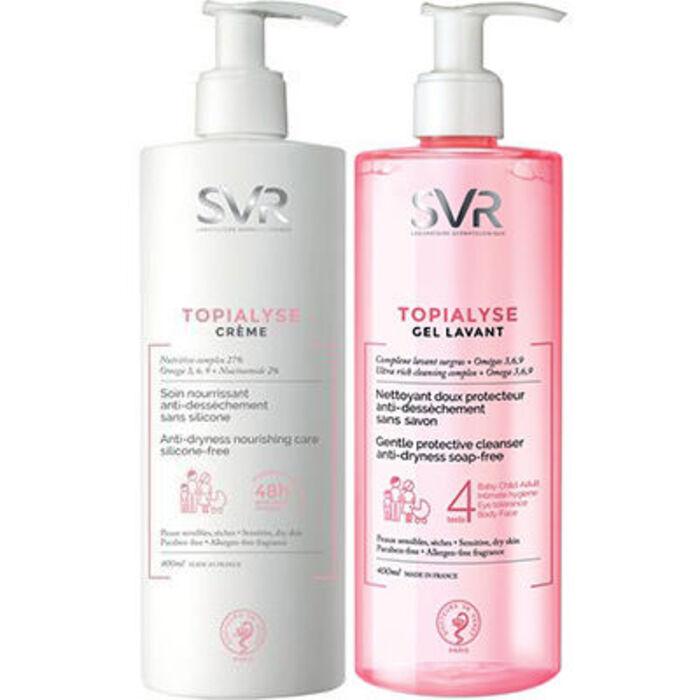 Svr topialyse crème 400ml + gel lavant 400ml offert Svr-223081