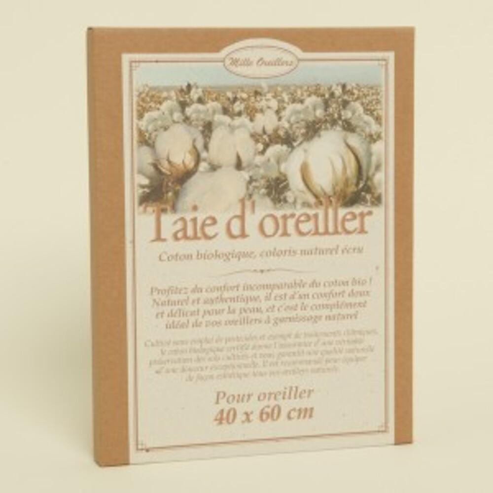 Taie percale coton naturel écru bio - 40x60 cm - divers - mille oreillers -189533