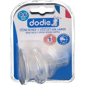 Tétine silicone initiation col large débit 1 - lot de 2 - dodie -219276