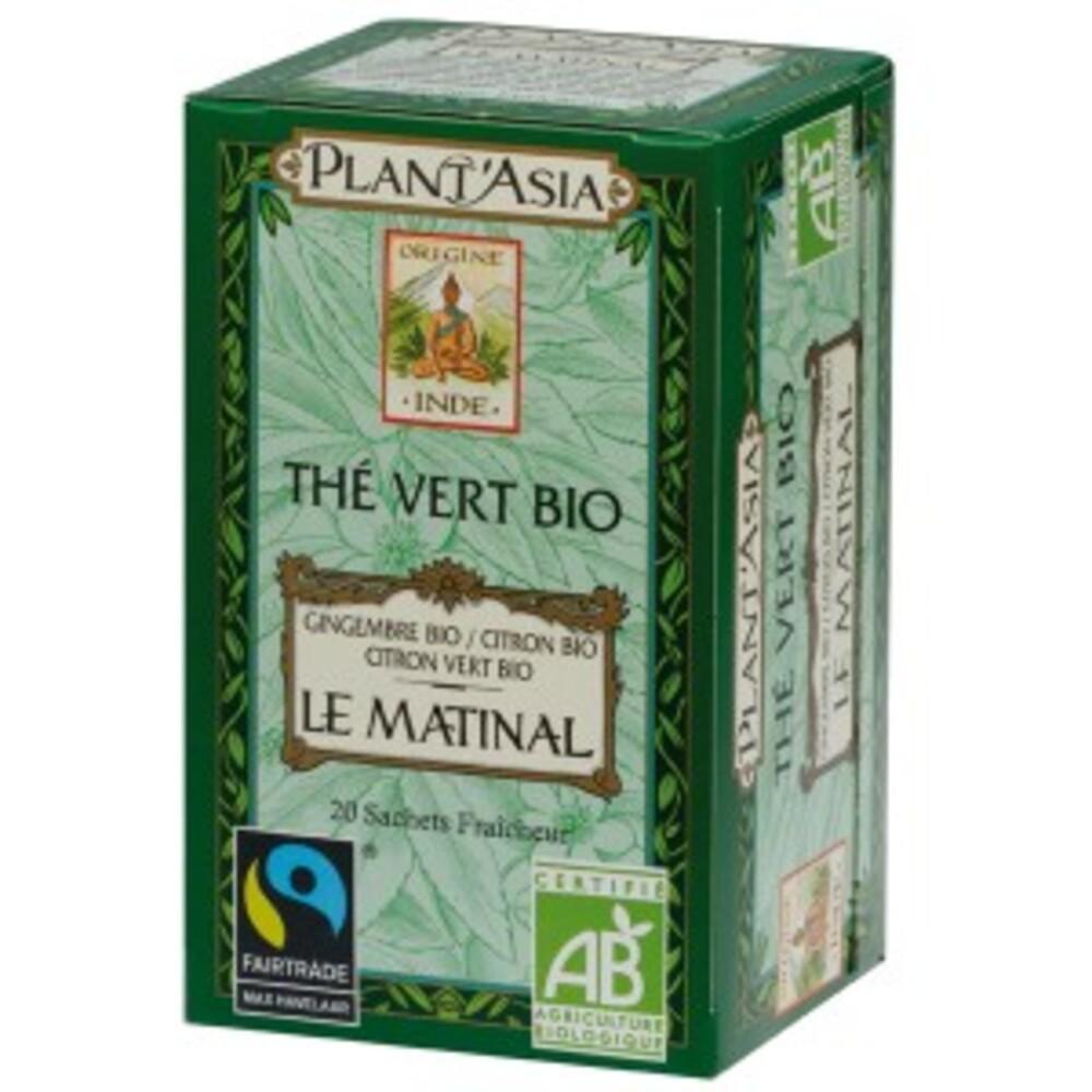 Thé vert bio le matinal plantasia - 20.0 unites - thés bio - plant'asia Thé vert - Gingembre - citron - Citron vert-122172