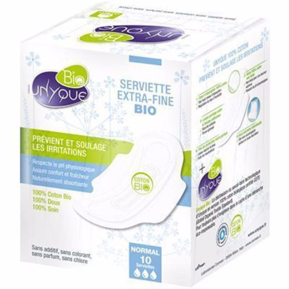 Unyque bio serviettes extra-fines normal x10 - unyque -216203