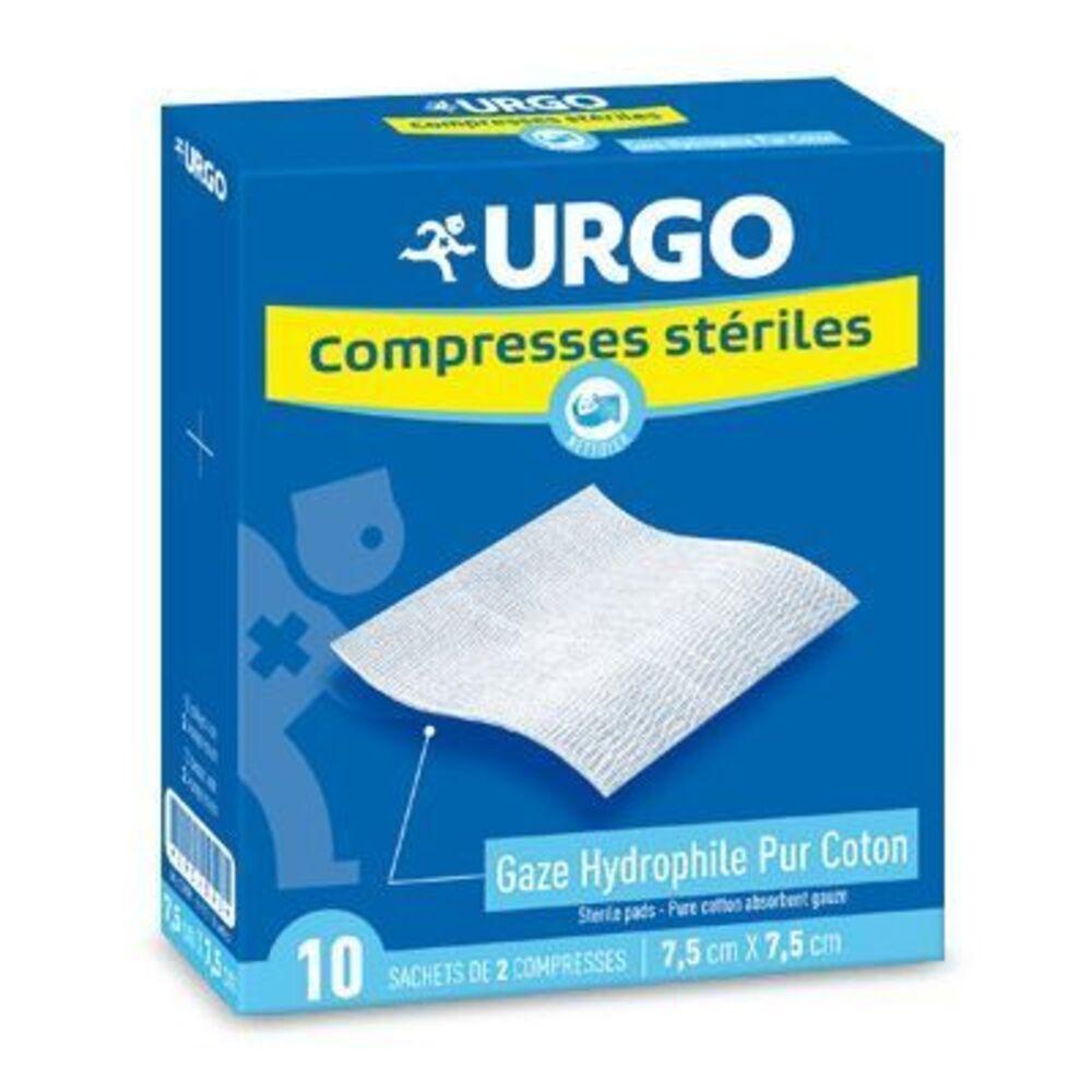 Urgo compresses stériles 7.5x7.5cm - 10 sachets de 2 compresses - urgo -191748