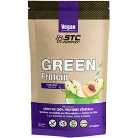 Vegan green protein smoothie pomme pêche 500g - stc nutrition -216201