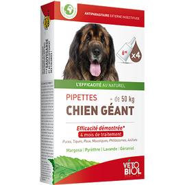 Vetobiol antiparasitaire chien géant +50kg 4 pipettes x 6ml - vétobiol -216381
