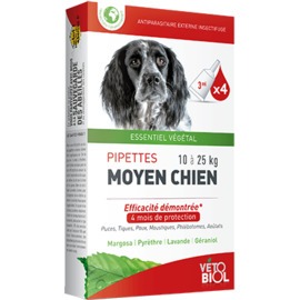 Vetobiol antiparasitaire chien moyen 10 à 25kg 4 pipettes x 3ml - vétobiol -216373