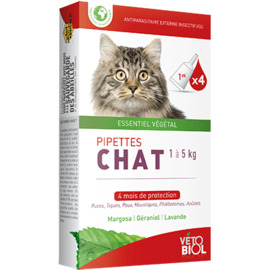 Vetobiol antiparasitaire externe chat chaton 4 pipettes - vétobiol -216380
