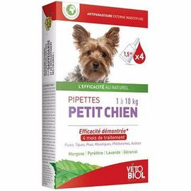 Vetobiol antiparasitaire petit chien 1 à 10kg 4 pipettes x 1,5ml - vétobiol -216376