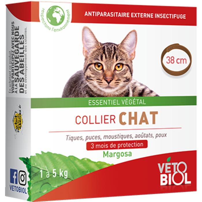 Vetobiol collier chat 1 à 5kg 38cm marron Vétobiol-216352