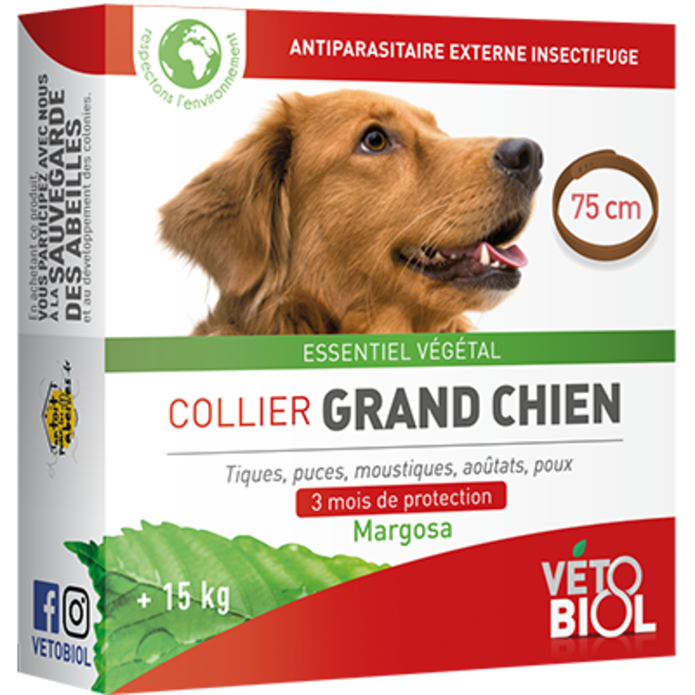 Vetobiol collier grand chien +15kg 75cm marron - vétobiol -216354