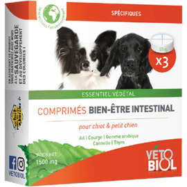 Vetobiol hygiène intestinale chiot et petit chien 3 comprimés - vétobiol -216375