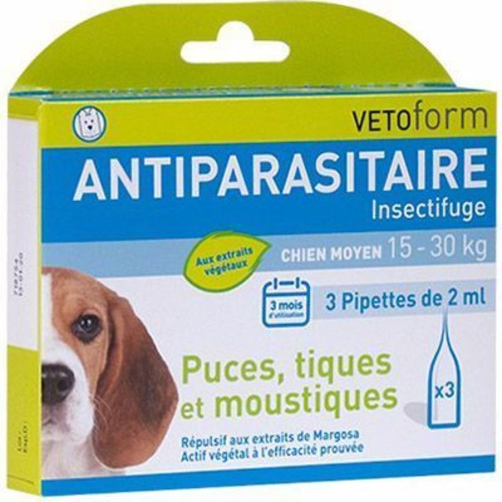 Vetoform antiparasitaire chien moyen 15-30kg 3 pipettes - vetoform -215002