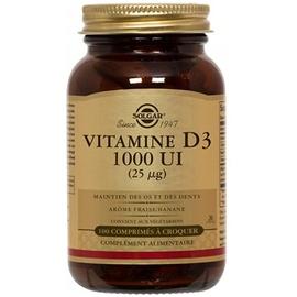 Vitamine d3 1000 ui à croquer - 100 comprimés - solgar -206100